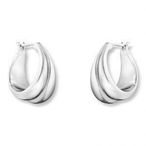 Mestergull Curve raffinerte og elegante ørepynt i sølv - medium GEORG JENSEN Curve Ørepynt