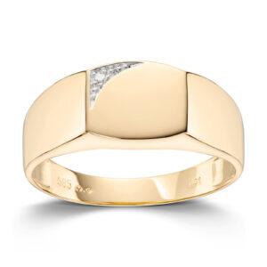 Mestergull Lekker herrering i gult gull med diamanter MESTERGULL Ring