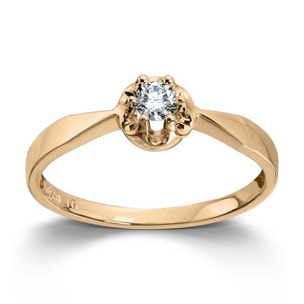 Mestergull Prinsesse er et klassisk enstens design med en elegant blondefatning i gult eller hvitt gull med diamanter i størrelse fra 0,03 ct. til 0,25 ct. PRINSESSE Ring