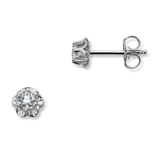 Mestergull Prinsesse er et klassisk enstens design med en elegant blondefatning i gult eller hvitt gull med diamanter i størrelse fra 0,03 ct. til 0,25 ct. PRINSESSE Ørepynt