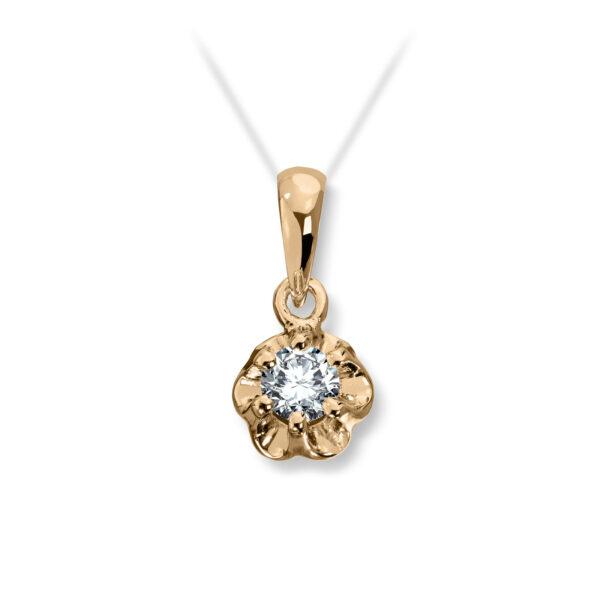 Mestergull Prinsesse er et klassisk enstens design med en elegant blondefatning i gult eller hvitt gull. I serien finnes matchende diamantring, anheng og ørepynt med diamanter i størrelse fra 0,03 ct. til 0,25 ct. PRINSESSE Anheng