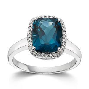 Mestergull Lekker ring i hvitt gull med London Blue Topas og diamanter MG DIAMONDS Ring