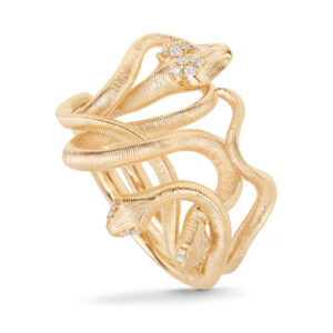 Mestergull Snakes Medusa ring i 18 kt. gult gull med 16 diamanter. Totalt 0,03 ct TwVs. LYNGGAARD Snakes Ring