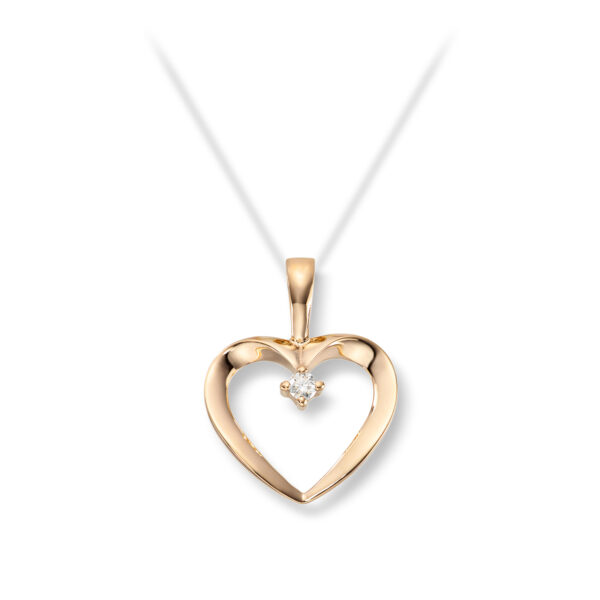 Mestergull Fint hjerteanheng i gult gull med diamanter MG DIAMONDS Anheng
