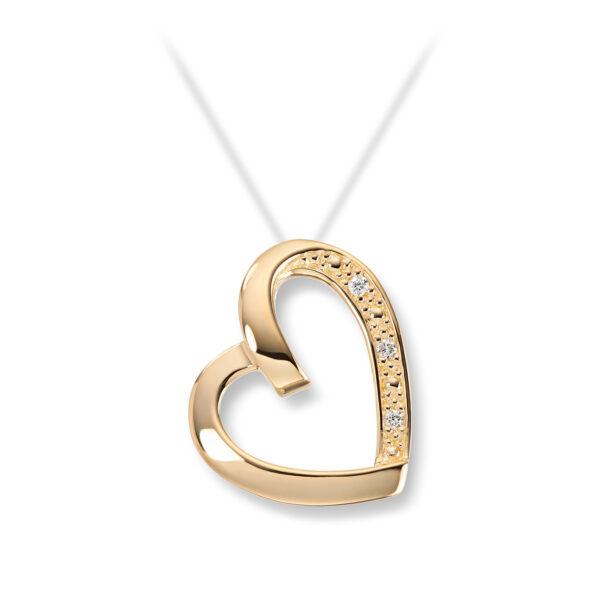 Mestergull Delikat hjerteanheng i gult gull med diamanter MESTERGULL Anheng