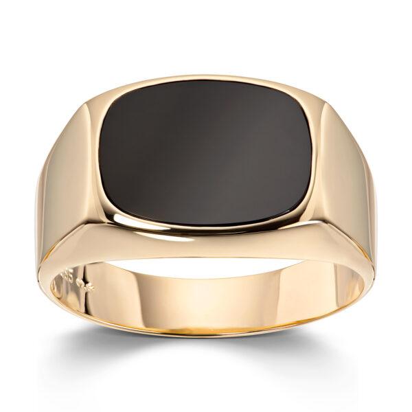 Mestergull Trendy signetring i gult gull med onyx MESTERGULL Ring