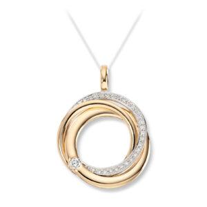 Mestergull Flott anheng i gult og hvitt gull med diamanter MESTERGULL Anheng