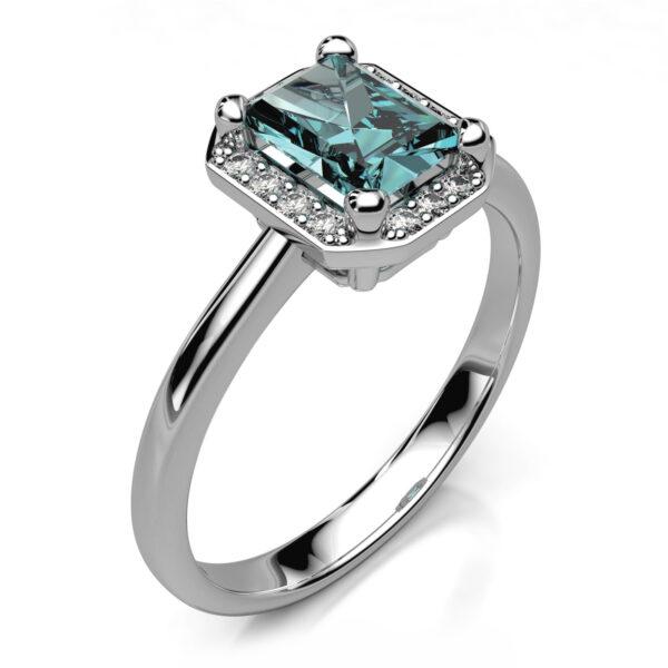Mestergull Ring i hvitt gull 585 designet til kundens Aquamarin. Ringen er laget i størrelse 61 og tillagt 14 brillianter. Totalt 0,14 ct. HSI DESIGN STUDIO Spesialdesign Ring