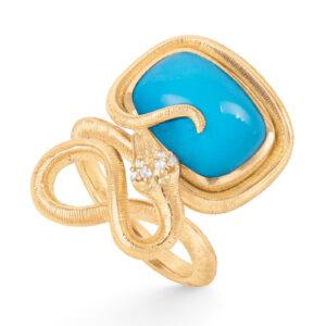 Mestergull Snakes ring i 18kt gult gull med 6 diamanter, totalt 0,04ct TwVs og turkis 15x11 8ct LYNGGAARD Snakes Ring