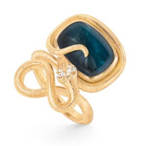 Mestergull Snakes ring i 18kt gult gull med 6 diamanter, totalt 0,04ct TwVs ogLondon blå topas 15x11 12ct LYNGGAARD Snakes Ring