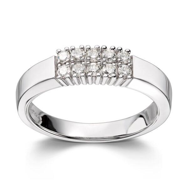Mestergull Klassisk allianse ring med diamanter i dobbel rekke ALLIANSE Dia. 0,04 ct. Ring