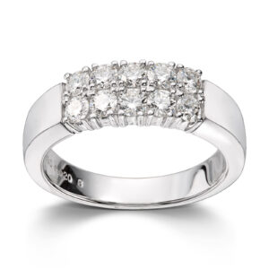 Mestergull Klassisk allianse ring med diamanter i dobbel rekke ALLIANSE Dia. 0,08 ct. Ring