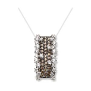 Mestergull Lekkert anheng i hvitt gull med hvite og brune diamanter MG DIAMONDS Anheng