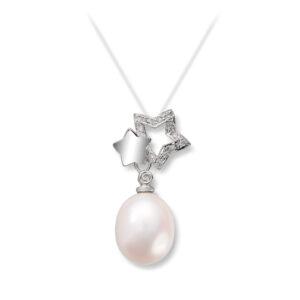 Mestergull Lekkert anheng i hvitt gull med diamanter og ferskvannsperle MG DIAMONDS Anheng
