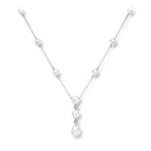 Mestergull Lekkert kjede i hvitt gull med ferskvannsperler og diamanter MG DIAMONDS Kjede