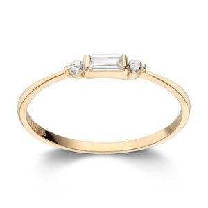 Mestergull Delikat ring i gult gull med baguettslipt og rund cubic zirkonia MESTERGULL Ring