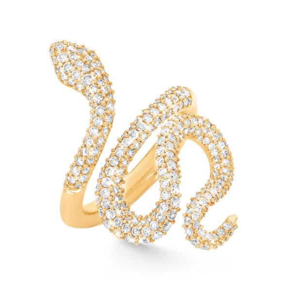 Mestergull Snakes ring medium i 18 K gult gull pavé med 239 diamanter totalt 1,35 ct. TwVs LYNGGAARD Snakes Ring