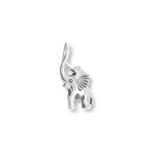 Mestergull My Little World charm elefant i sølv med 1 diamant 0,005 ct. TwVs inkl. blå snor LYNGGAARD My Little World Charm