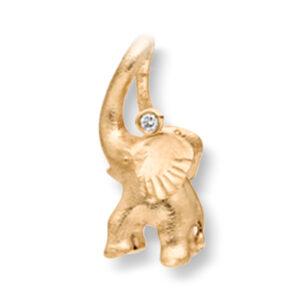 Mestergull My Little World charm elefant i 18 K Gult gull med 1 diamant 0,005 ct. TwVs inkl. Sort snor LYNGGAARD My Little World Charm