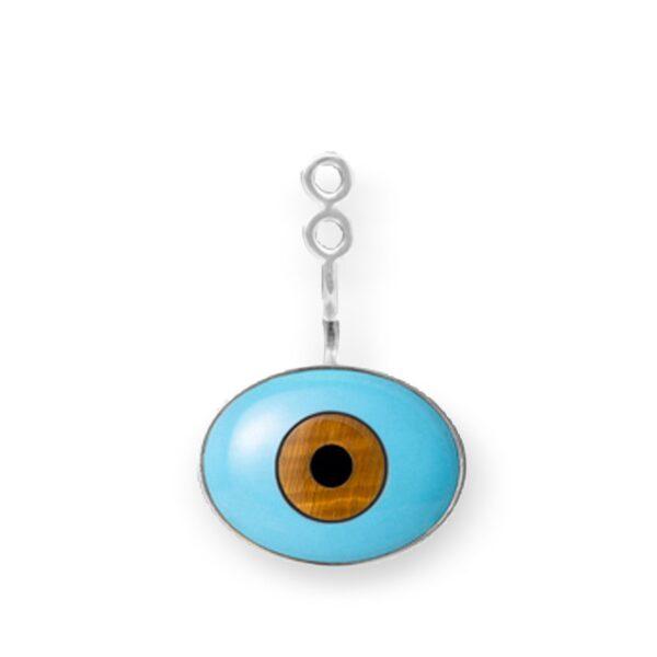 """Mestergull Lotus vedheng til ørepynt i sølv. """"Evil Eye"""" med turkis, tigerøye og onyx. Selges enkeltvis. LYNGGAARD Anheng"""