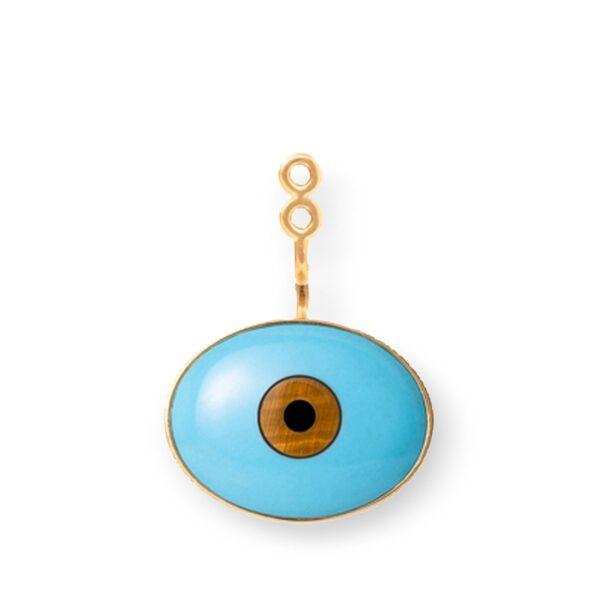 """Mestergull Vedheng til Lotus ørepynt Lille """"Evil eye"""" med turkis, tigerøye og onyx. Selges enkeltvis. LYNGGAARD Lotus Anheng"""