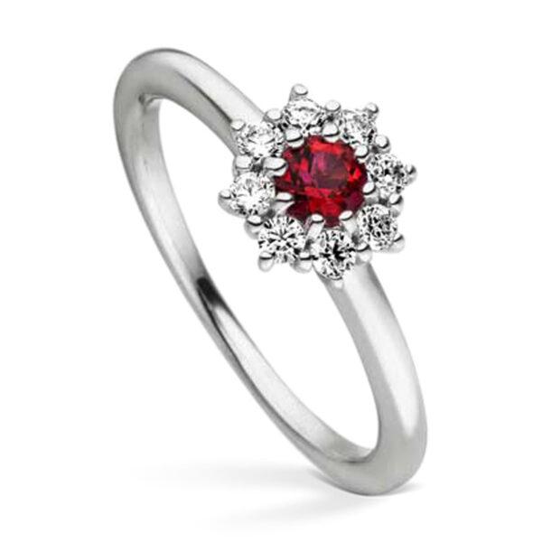 Mestergull Elegant ring i rhodinert sølv med cubic zirkonia og syntetisk topas farge blazing VIVENTY Ring