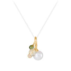 Mestergull Anheng Blooming 18kt. gult gull med diamanter, rutil, hvit perle og grønn turmalin, selges uten kjede LYNGGAARD Blooming Anheng