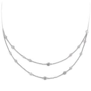 Mestergull Flott kjede i rhodinert sølv med cubic zirkonia VIVENTY Kjede