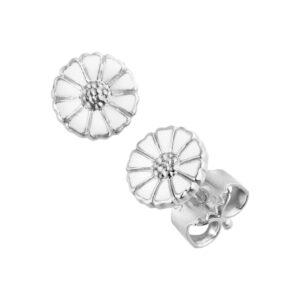 Mestergull Daisy ørepynt i rhodinert sølv med hvit emalje GEORG JENSEN Daisy Ørepynt