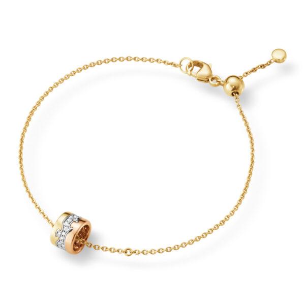 Mestergull Fusion armbånd i rosè, hvitt og gult gull med diamanter GEORG JENSEN Fusion Armbånd