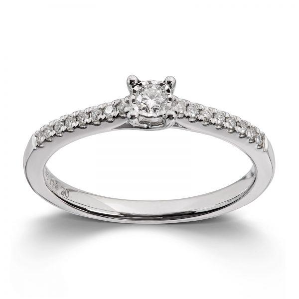 Mestergull Elegant ring i hvitt gull med diamanter MG DIAMONDS Ring