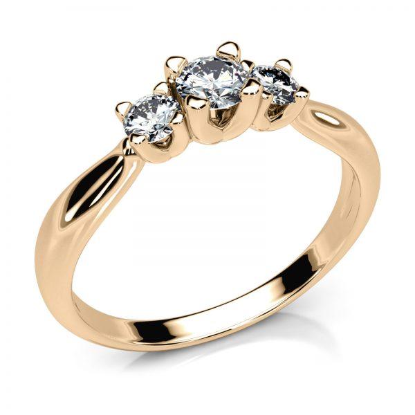 Mestergull En elegant og unik trestens ring i gult gull med diamanter MG DIAMONDS Ring
