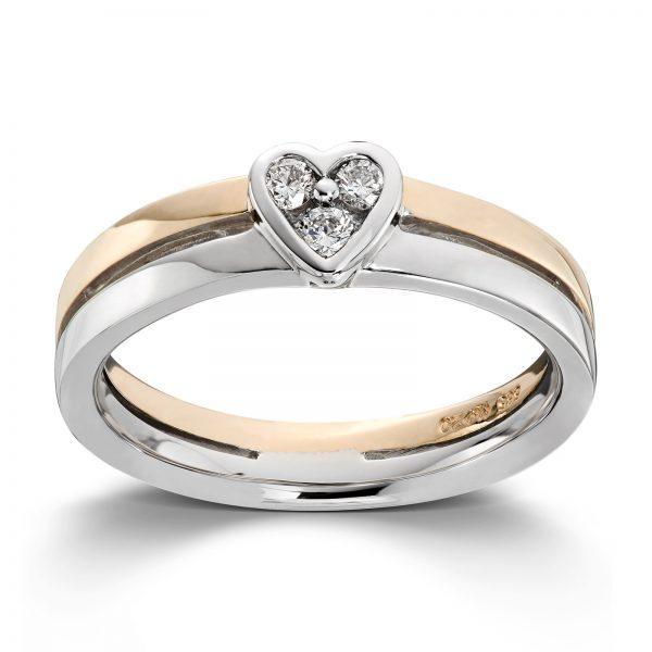 Mestergull Tøff tofarget gullring med 3 diamanter fattet som et hjerte MG DIAMONDS Ring