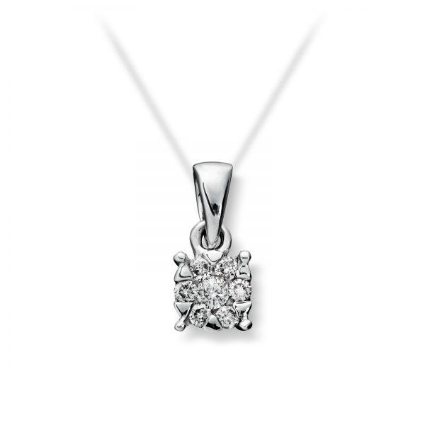Mestergull Enkelt anheng i hvitt gull med diamanter MG DIAMONDS Anheng