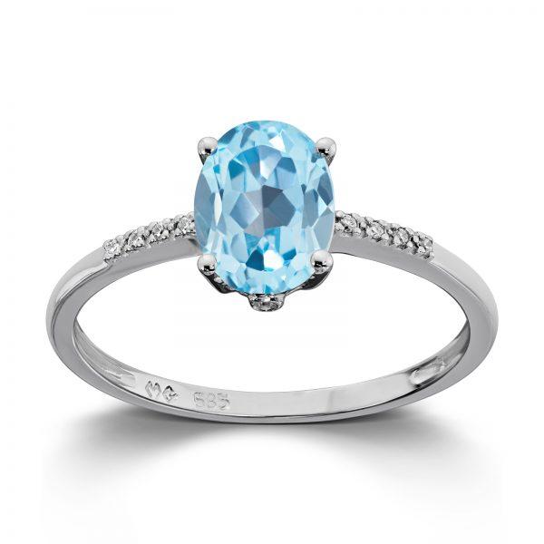 Mestergull Flott ring i hvitt gull med diamanter og blå topas MESTERGULL Ring