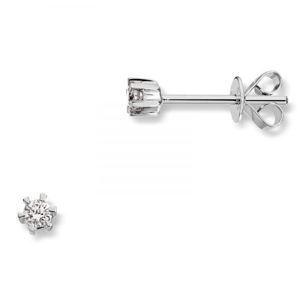 Mestergull Klondike er serien med de gode prisene. Solitaireserien kombinerer hvitt gull og diamanter i kvaliteten JP1 i str. 0,03 ct. til 0,20 ct. KLONDIKE Ørepynt