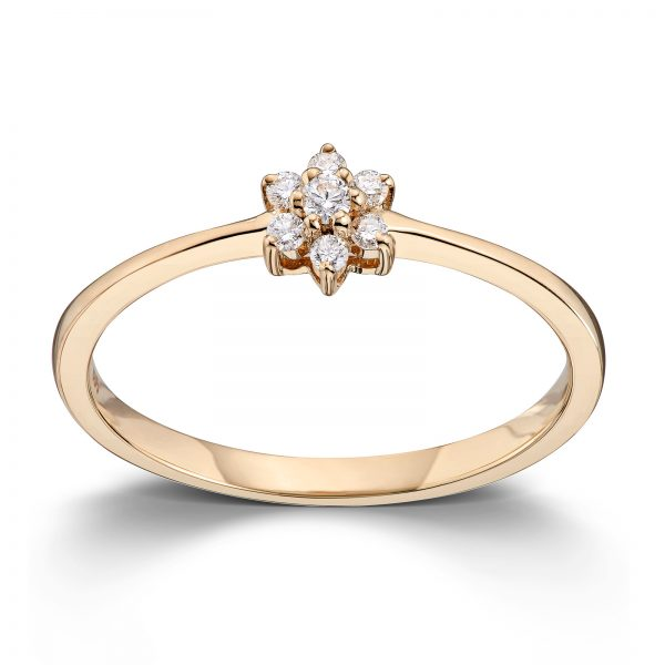 Mestergull Delikat ring i gult gull med diamanter MG DIAMONDS Ring
