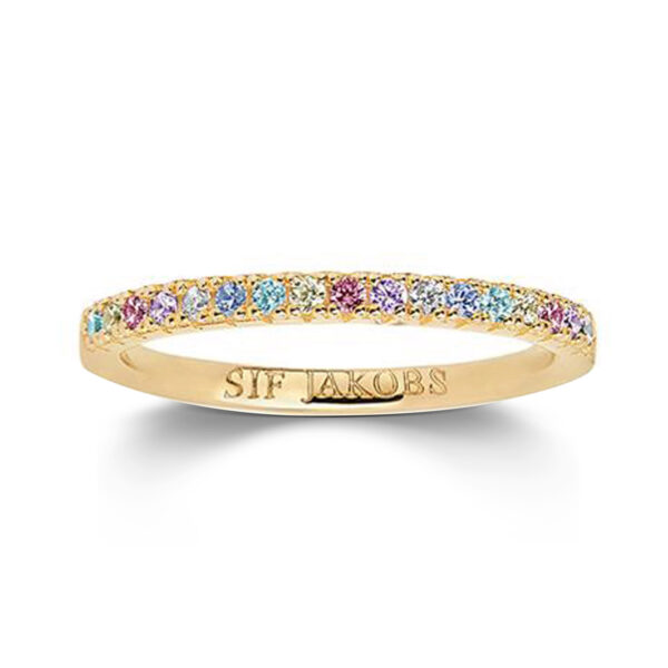 Mestergull Ring i sølv 925S forgylt med 18K gull, med blankpolert overflate og fasettslepne flerfargede Zirkonia. SIF JACOBS JEWELLERY Ellera Ring