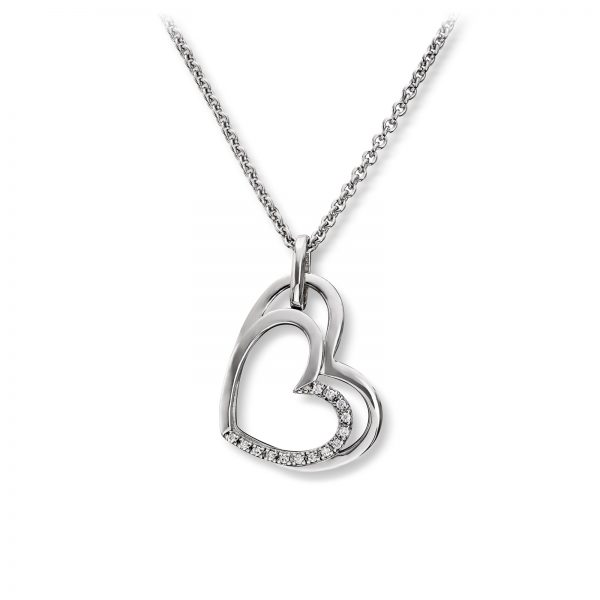 Mestergull Elegant hjerteanheng i rhodinert sølv med hvite cubic zirkonia GID Anheng