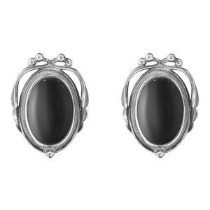 Mestergull Heritage ørepynt i sølv med sort onyx GEORG JENSEN Heritage Ørepynt