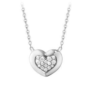 Mestergull Aurora Heart Anheng i 18 K Hvitt Gull og Diamanter GEORG JENSEN Aurora Anheng