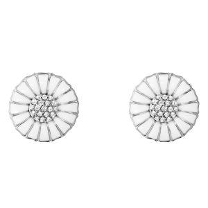 Mestergull Daisy ørepynt i sølv med hvit emalje og diamanter GEORG JENSEN Daisy Ørepynt
