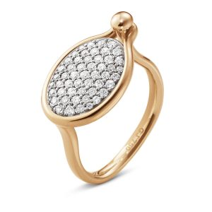 Mestergull Savannah ring Medium i 18 K Rosé Gull med diamanter GEORG JENSEN Savannah Ring