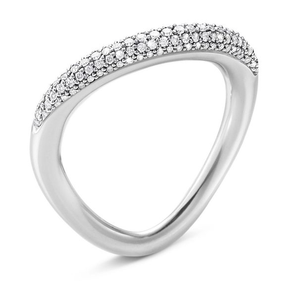 Mestergull Offspring ring i sølv med diamanter GEORG JENSEN Offspring Ring