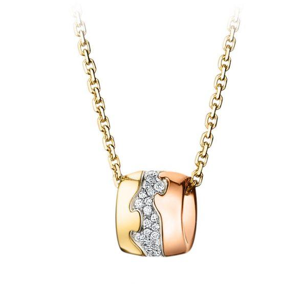Mestergull Fushion Anheng i 18 K Flerfarget gull med diamanter GEORG JENSEN Fusion Anheng