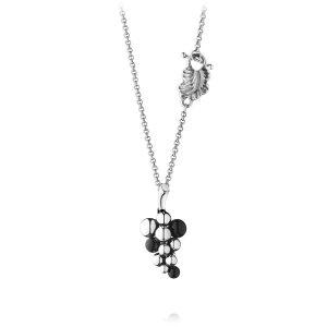 Mestergull Moonlight Grape Anheng i oksidert sølv med onyx GEORG JENSEN Grape Anheng