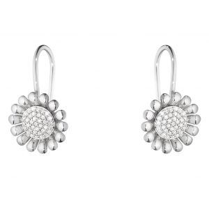 Mestergull Sunflower Ørepynt i sølv med Diamanter GEORG JENSEN Sunflower Ørepynt