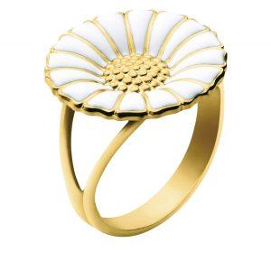 Mestergull Daisy Ring sølv forgylt med hvit emalje GEORG JENSEN Daisy Ring