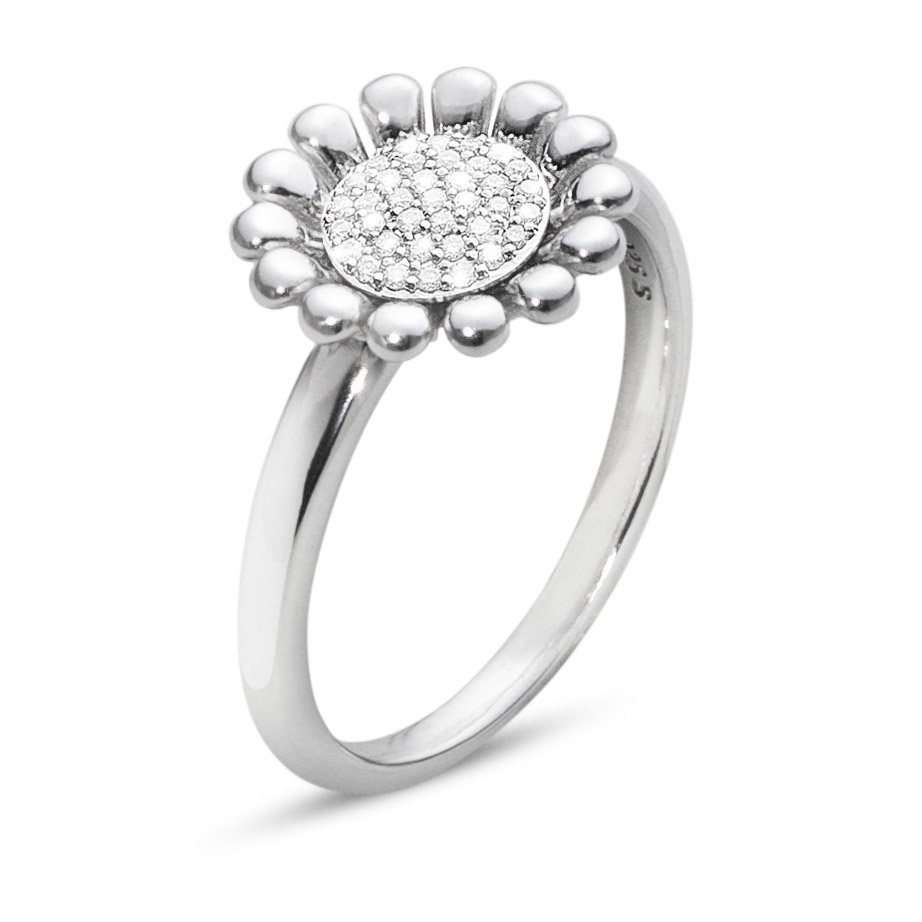 Mestergull Sunflower Ring i sølv med Diamanter GEORG JENSEN Sunflower Ring