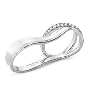Mestergull Marcia Double Ring i sølv med Diamanter GEORG JENSEN Marcia Ring